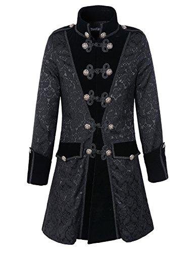 Mens-Black-Gothic-Brocade-Jacket-Frock-Coat-Steampunk-VTG-Victorian