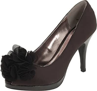 Unlisted Women's Natural Glow Pump,Black Satin,6 M US