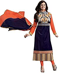The Desi Attire Navy Blue & Orange Color Georgette Straight Salwar Suit for Women ( Embroidered Salwar Suit for Women _ Dress Materials for Women _ Straight Salwar Suits )