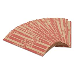 Coin-Tainer Flat Coin Wrappers, Pennies, 1000/Bx, Red (30001)