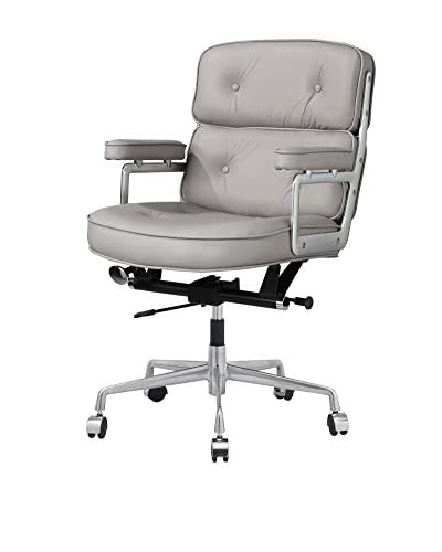 Meelano M340 Office Chair In Grey Italian Leather