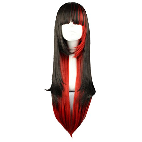 "32"" Women Long Straight Anime Halloween Costume Cosplay Party Hair Wigs-Black Red Mix"