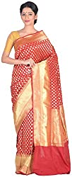 Sree Howrah Stores Women's Silk Saree with Blouse Piece (Maroon)