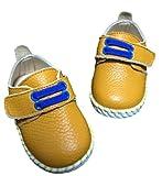 キッズ レザー シューズ 子供 靴 マジックテープ 式 ベビー シューズ (13cm, 黄色)
