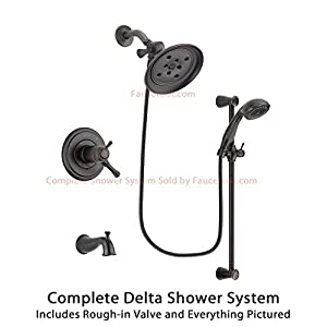 Delta Cassidy Venetian Bronze Finish Thermostatic Tub And Shower Faucet System Package With