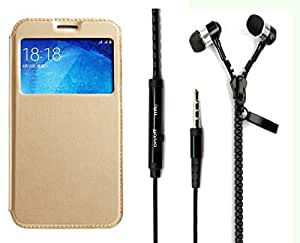 Novo Style Samsung Galaxy A7 Window View Premium Folio Flip Cover Case W Stand View + Zipper Earphones/Hands free With Mic 3.5mm jack