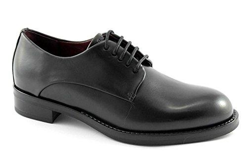 FRAU 98P1 nero scarpe donna derby liscio pelle spazzolata suola gomma