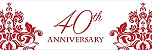 "Creative Converting Ruby Anniversary Giant Party Banner, 20 by 60"", Ruby by Creative Converting"
