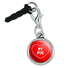 buy Mobile Cell Phone Jack Anti-Dust Charm Fits Iphone Ipod I Love Heart My M-P - My Pug