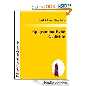 Epigrammatische Gedichte (German Edition) Friedrich von Hagedorn