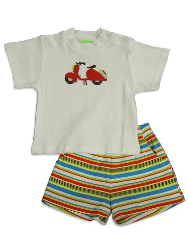 SnoPea - Infant Boys Short Sleeve Short Set, White, Multi (Size 18Months)