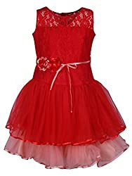 Titrit Red And Pink Party Wear Frock For Girls