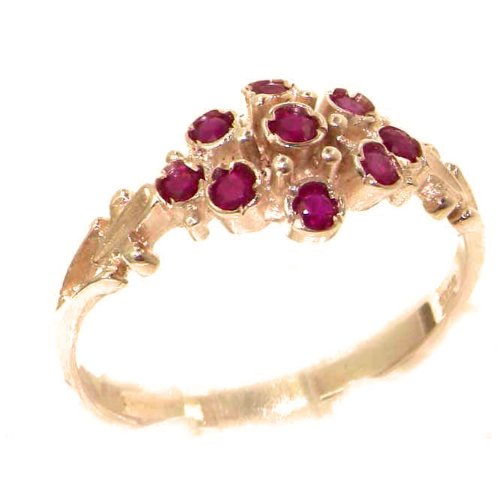 Unusual Solid 9ct Rose Gold Natural Ruby Ring with English Hallmarks - Size N - Finger Sizes K to Y Available - Suitable as an Anniversary ring, Engagement ring or Eternity ring
