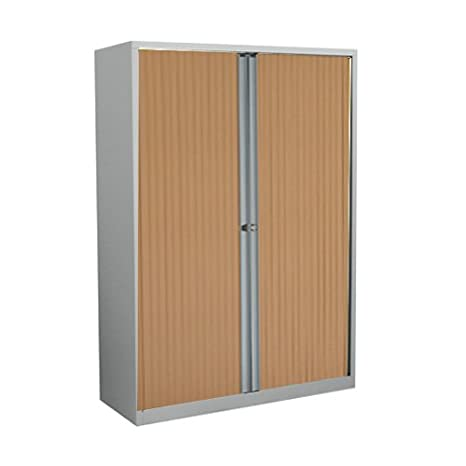 Bisley ET412/13/3S.BC 133 cm Euro Tambour Beech Shutter with 2 Shelves - Silver