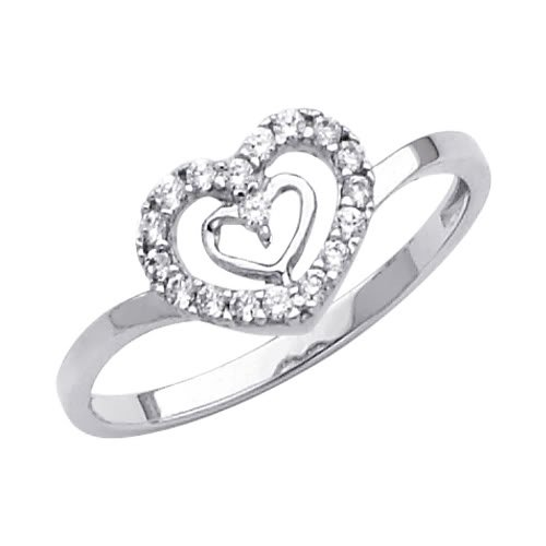 14K White Gold Heart Solitaire CZ Cubic Zirconia Promise Ring Band - Size 8
