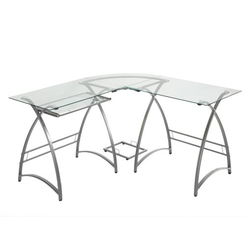 Buy Low Price Comfortable Walker Edison L-Shaped Glass Computer Desk, Clear/Silver (B002WRGE6I)