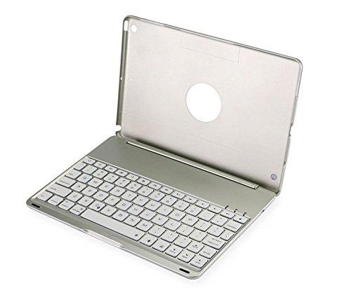 efluky ipad air用キーボード Bluetooth搭載 ワイアレスキーボードipad保護 LEDバックライト付き 七色変換 (シルバー)