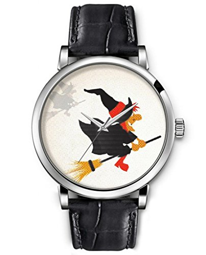 Sprawl Analog Silver Large Face Black Leather Quartz Unisex Watches Idea Gift Clear Print -- Witch On Broom Watches