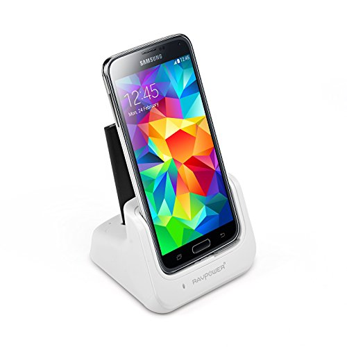 Ravpower® Samsung Galaxy S5 / Sv Charger Desktop Charging Cradle & Usb 3.0 Sync Transfer Dock (Spare S5 Battery Charger, Detachable Case Plate, Compatible Without Or With A Slim-Fit Case) (White)