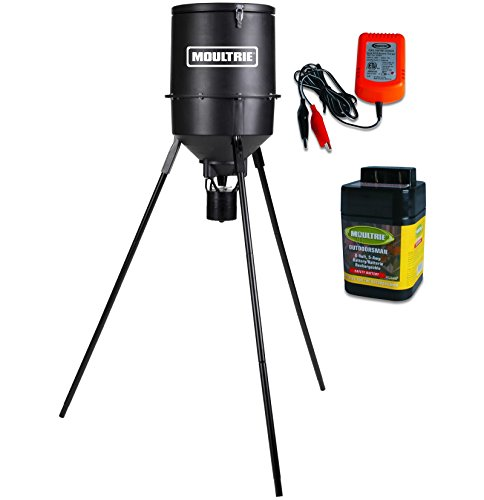 MOULTRIE 30 Gal Classic Programmable Tripod Deer Feeder w/6V Battery & Charger
