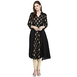 Bhama Couture Black Gold Foil Print on Yoke Anarkali Kurti Large