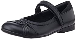 Clarks Girls Dolly Heart Black Leather Formal Shoes - 9 UK