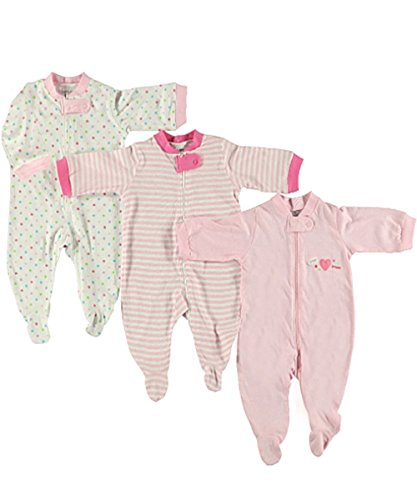 """Luvable Friends """"Hugs & Kisses"""" 3-Pack Footed Coveralls - pink, 6 - 9 months"""