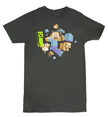 Jinx Minecraft Run Away Glow In The Dark Adult T-Shirt Vintage Coal-SM (Adult Clothing compare prices)