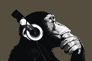 Schimpanse mit Kopfhörern Poster, 92x61