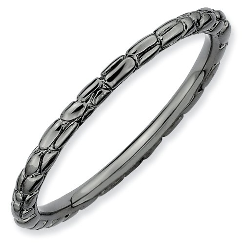 Sterling Silver Stackable Expressions Black-plated Twisted Ring (Size 10)