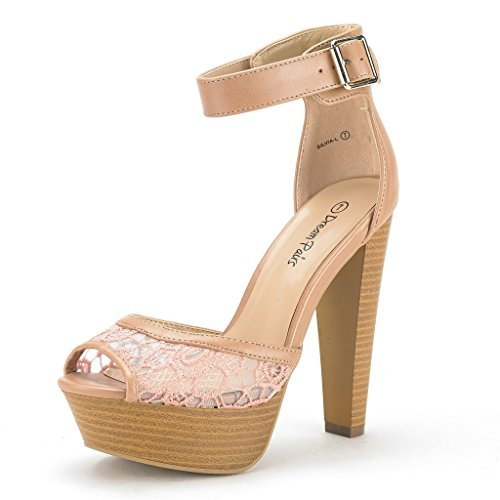 DREAM PAIRS SILVIA-L Women's Lace Pumps High Heels Peep Toe Ankle Strap Platform Casual Party Shoes NUDE PU SIZE 8.5
