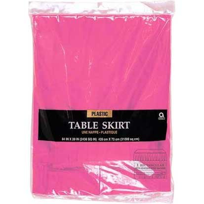 "Amscan Pleated Plastic Table Skirt in Solid Color Design, 14' x 29"", Bright Pink"