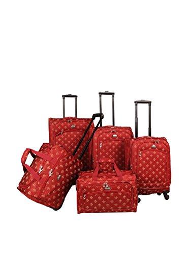 American Flyer Fleur De Lis 5-Piece Spinner Luggage Set, Red