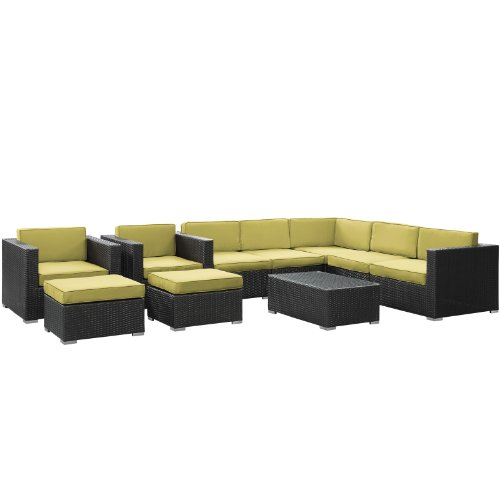 LexMod Avia Outdoor Wicker Patio 10-Piece Sectional Sofa Set in Espresso with Peridot Cushions