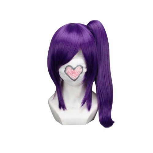 18″ Straight Purple Cosplay Wig + 1 Clip on Ponytail — Gintama Terakado Tsuu