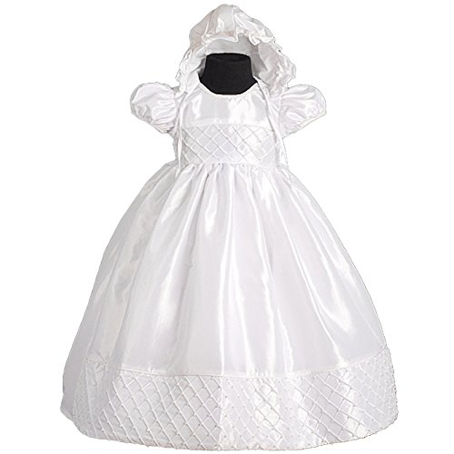 Dressy Daisy Baby Girls' Beaded Baptism Christening Dresses Gown With Bonnet Infant Size 6-9 Months White