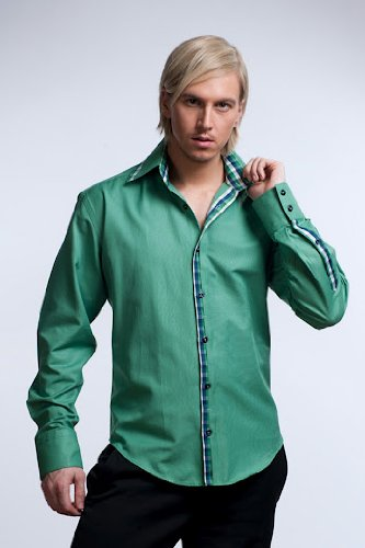 New Style Men's Formal & Casual Italian Design Shirts Green Colour Slim Fit S-4XL