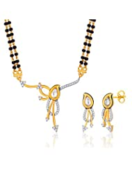 "Peora Valentine 18 Karat Gold Plated Kundan ""Edha"" Mangalsutra Earrings Set (PM66GJ)"