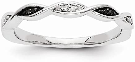 14k White Gold Black and White Diamond Ring Size 7
