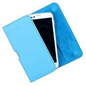 Dooda Genuine Leather Belt Pouch Case For Lava Xolo Q800 - X-Edition (SKY BLUE)