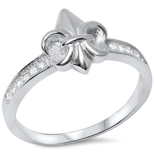 Irish Symbol Fleur De Lis With Cz .925 Sterling Silver Ring - Size 7
