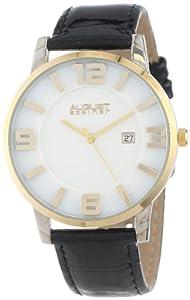 August Steiner Men's AS8055YG Slim Swiss Quartz Leather Strap Watch