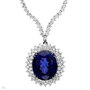 18K White Gold 10.26 CTW Color G SI1-SI3 Diamond and 27.1 CTW Tanzanite Ladies Necklace. Length 16 in. Total Item weight 29.6 g.