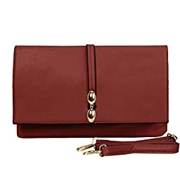BMC Classically Chic Rouge Cream Faux Leather Large Envelope Style Fashion Accessory Statement Clutch