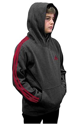 adidas Youth Fleece Collection (Youth Medium 10/12, Fleece Pullover Hoodie, Dark Gray/Scarlet)