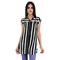 Terquois shirt with strips & inner (633_white&Black_XXL)