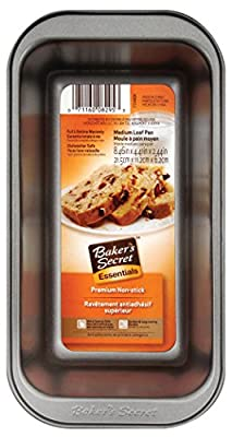 "Baker'S Secret Loaf Pan Dw Safe, Medium 8.46"" X 4.4"" X 2.44"" Non-Stick Gray"