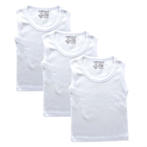 Luvable Friends Sleeveless Tee Tops, 3 Pack, White, 9-12 Months