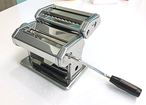 A-ONE KITCHEN TOOL Heavy Duty Stainless Steel Pasta Lasagne Spaghetti Tagliatelle Maker Machine Cutter with 3 Cut Press Blade Settings with Table Top Clamp with thickness adjustable level