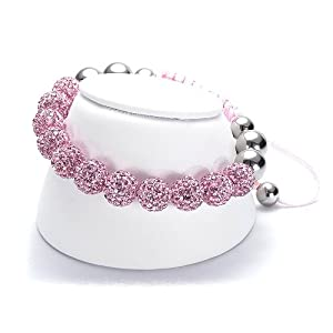 Roxy Jewels Pink Crystal Sparkle Bling & Stainless Steel Beads on Pink Cord - Trendy Fashion or Breast Cancer Awareness - Adjustable Shamballa Style Bracelet